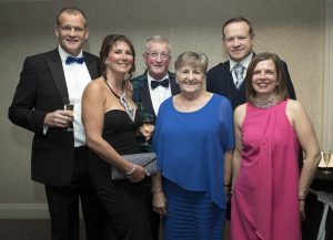 Perthshire Chamber of Commerce Business Star Awards 2017…Crieff Hydro Hotel From left, Ros Graham, Tracey Graham, Jimmy Graham, Anna Graham, Stuart Graham and June Graham Picture by Graeme Hart.  Copyright Perthshire Picture Agency Tel: 01738 623350  Mobile: 07990 594431