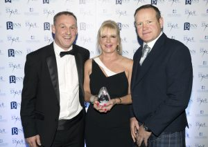 Perthshire Chamber of Commerce Business Star Awards 2017…Crieff Hydro Hotel Excellence in Customer Service Award to Premier Properties Perth, pictured from left, Alan Keddie, Katie Hall and presenting Stuart Graham Picture by Graeme Hart.  Copyright Perthshire Picture Agency Tel: 01738 623350  Mobile: 07990 594431